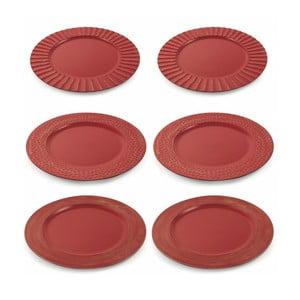 Sada 6 červených vianočných dekoratívnych plastových tanierov Villa d'Este XMAS Piatto Rosso Moderno, ⌀ 33 cm