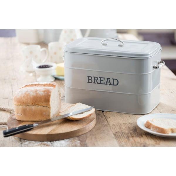 Sivá plechová dóza na chlieb Kitchen Craft Bread