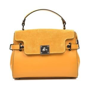 Žltá kožená kabelka Carla Ferreri Monica Lento