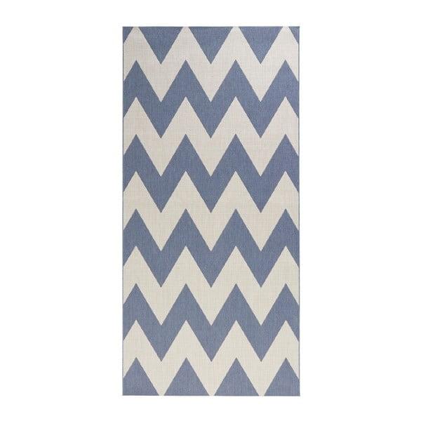 Modro-biely behúň vhodný aj do exteriéru Unique, 80×200 cm