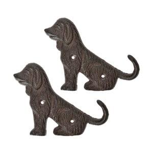 Sada 2 liatinových nástenných háčikov v tvare psa Esschert Design Dogs