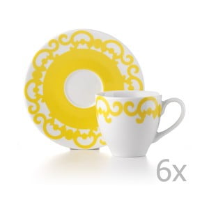 Sada 6 hrnčekov s tanierikmi Arabesco Yellow