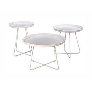 Sada 3 bielych kovových konferenčných stolíkov Nørdifra Pogorze