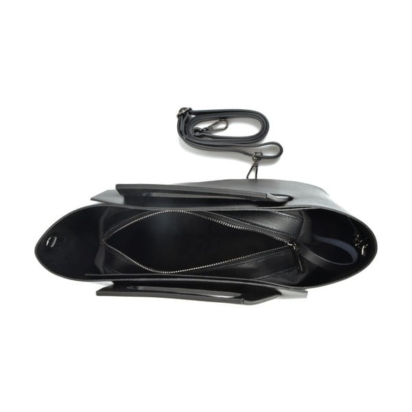 Čierna kožená kabelka Carla Ferreri Cross