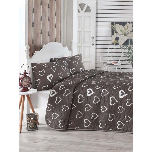 Hnedý prešívaný pléd cez posteľ s 2 obliečkami na vankúše Amor, 200×220 cm