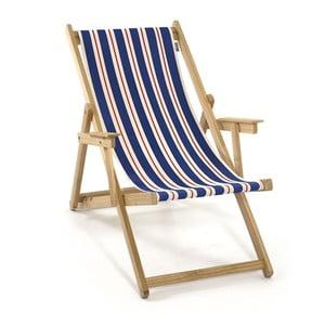 Skladacie ležadlo Beach, modré a oranžové proužky
