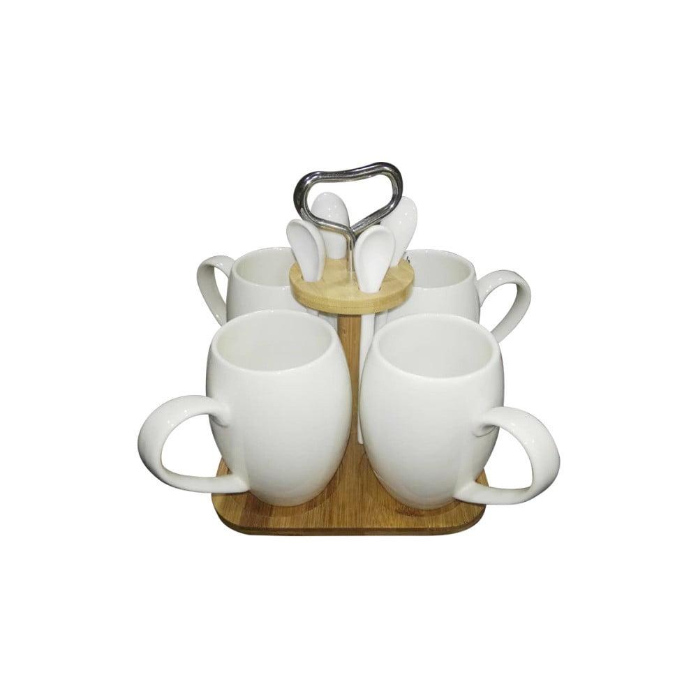 Kávový set z porcelánu a bambusu Suedo