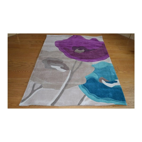 Koberec Poppy Flowers Teal Purple, 80x150 cm