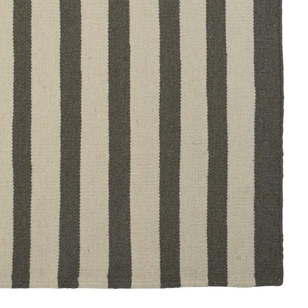 Sivý ručne tkaný vlnený koberec Toya, 140x200cm