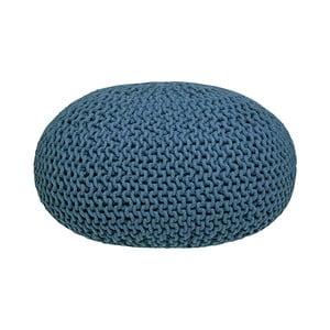 Modrý pletený puf LABEL51 Knitted XL, ⌀ 70 cm
