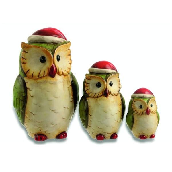Set 3 dekorácií Xmas Owl