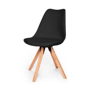 Čierna stolička s podnožím z bukového dreva loomi.design Eco