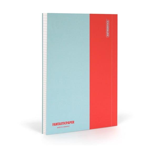 Zápisník FANTASTICPAPER XL Skyblue/Warm Red, štvorčekový