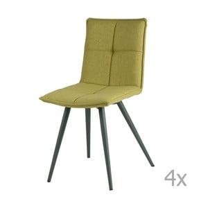 Sada 4 zelených jedálenských stoličiek sømcasa Zoe