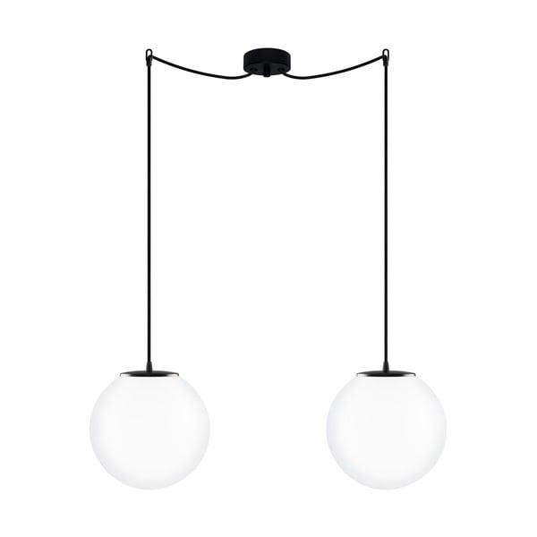 Závesné dvojité svietidlo z opálového skla s čiernou objímkou Sotto Luce TSUKI