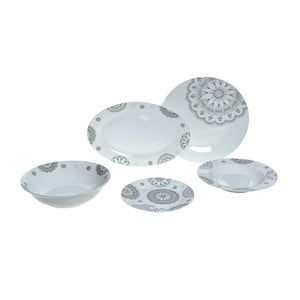 Set porcelánového riadu Grey Decor, 25 ks