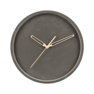 Tmavosivé zamatové nástenné hodiny Karlsson Lush, ø 30 cm
