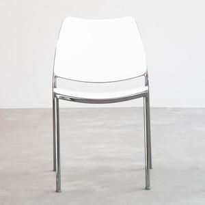 Biela stolička s chrómovanými nohami Stua Gas