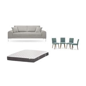 Set trojmiestnej svetlosivej pohovky, 4 sivozelených stoličiek a matraca 160 × 200 cm Home Essentials