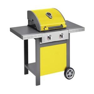 Žltý plynový gril s 2 samostatne ovládateľnými horákmi a teplomerom Jamie Oliver BBQ