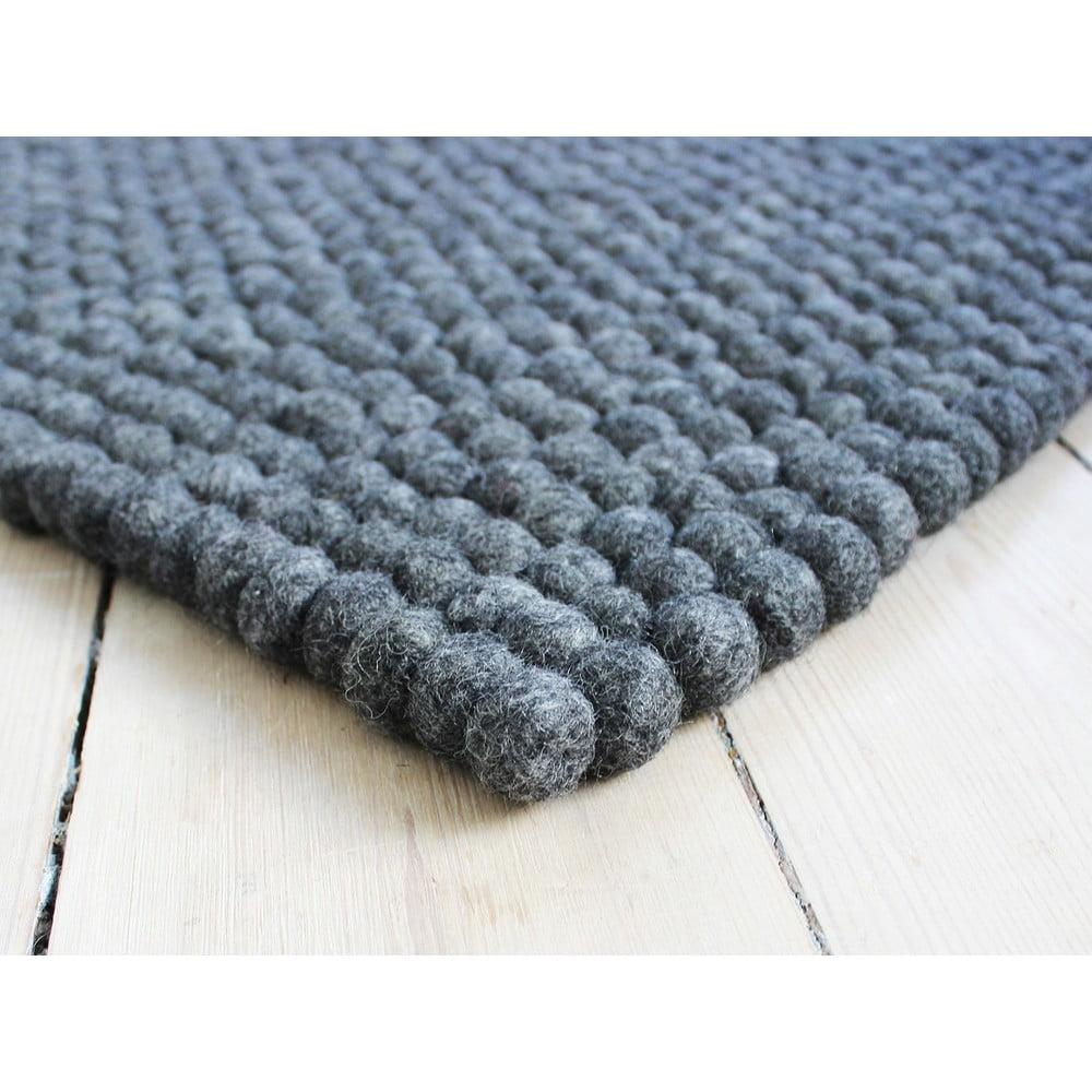 Antracitovosivý guľôčkový vlnený koberec Wooldot Ball rugs, ⌀ 100 x 150 cm