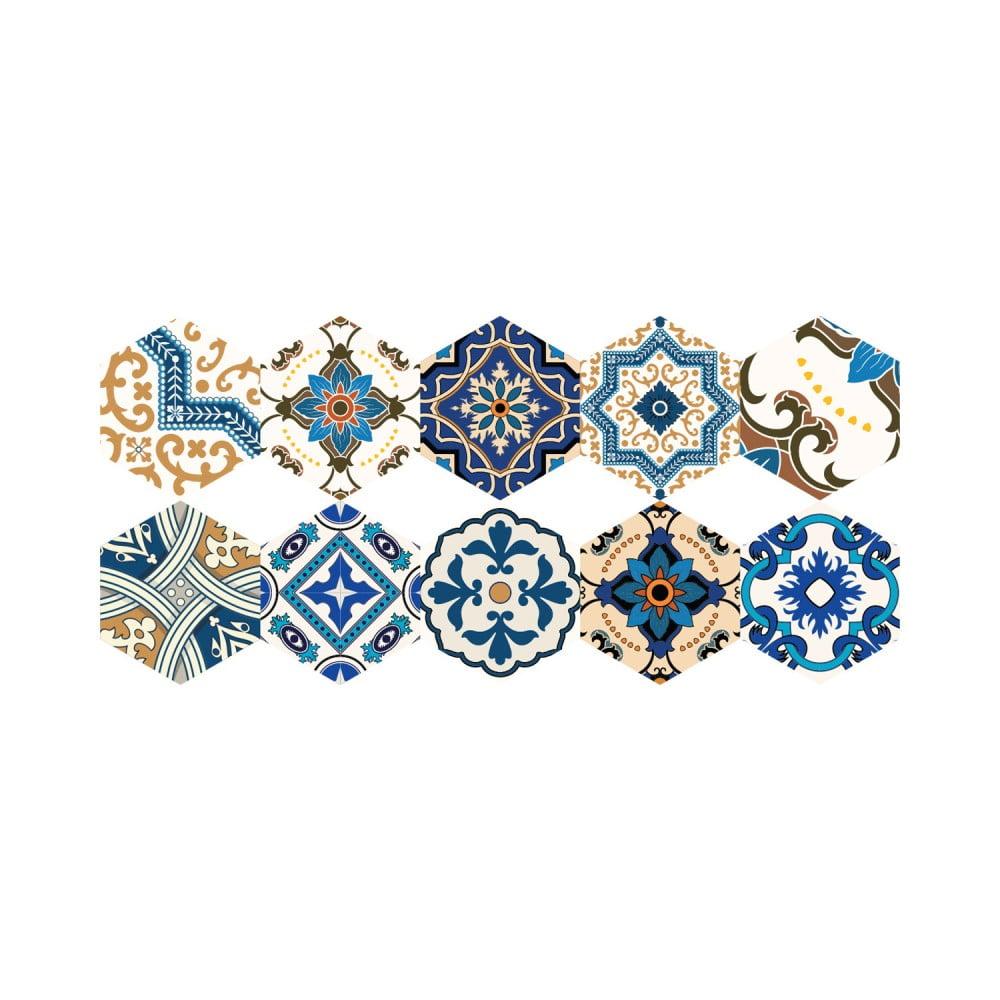 Sada 10 samolepiek na podlahu Ambiance Floor Stickers Hexagons Nicoleta, 40 × 90 cm