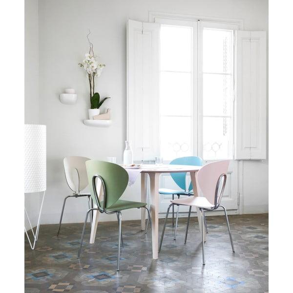 Ružová stolička s lakovanými bielymi nohami Stua Globus