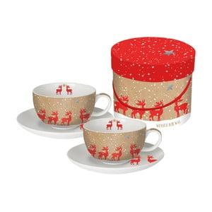 Sada 2 porcelánových hrnčekov na cappuccino s vianočným motívom v darčekovom balení PPD Make a Wish, 200 ml