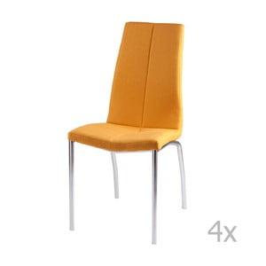 Sada 4 žltých jedálenských stoličiek sømcasa Carla