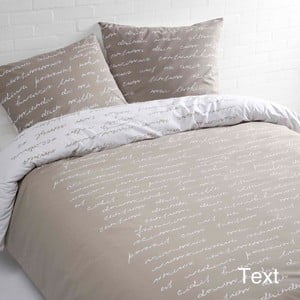 Béžové bavlnené posteľné obliečky Ekkelboom Tekst, 140 x 200 cm