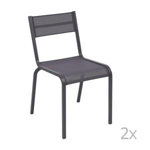 Sada 2 modrofialových kovových záhradných stoličiek Fermob Oléron
