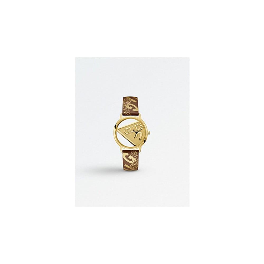 Dámske hodinky s hnedým remienkom z pravej kože Guess V1009M2