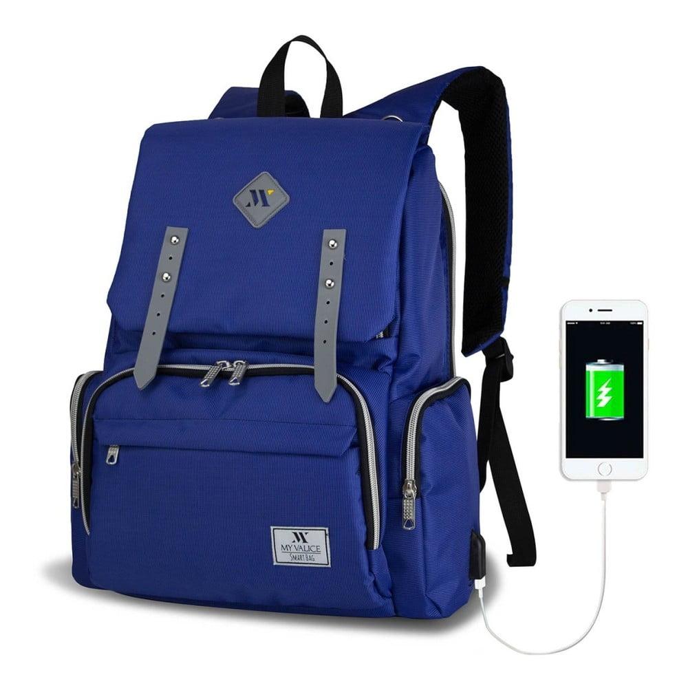 Modrý batoh pre mamičky s USB portom My Valice MOTHER STAR Baby Care Backpack