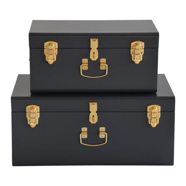 Sada 2 čiernych kovových kufríkov RGE Stella Matteus