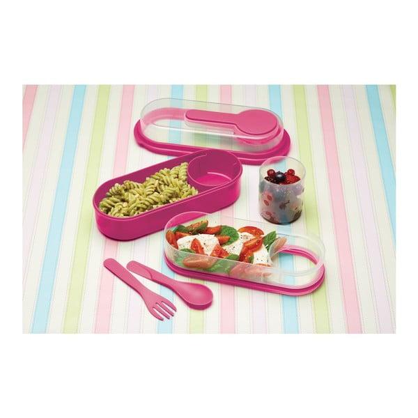 Ružový desiatový box Kitchen Craft Coolmovers Rectangular