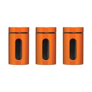 Sada 3 oranžových dóz s vekami Premier Housewares Orange Jars