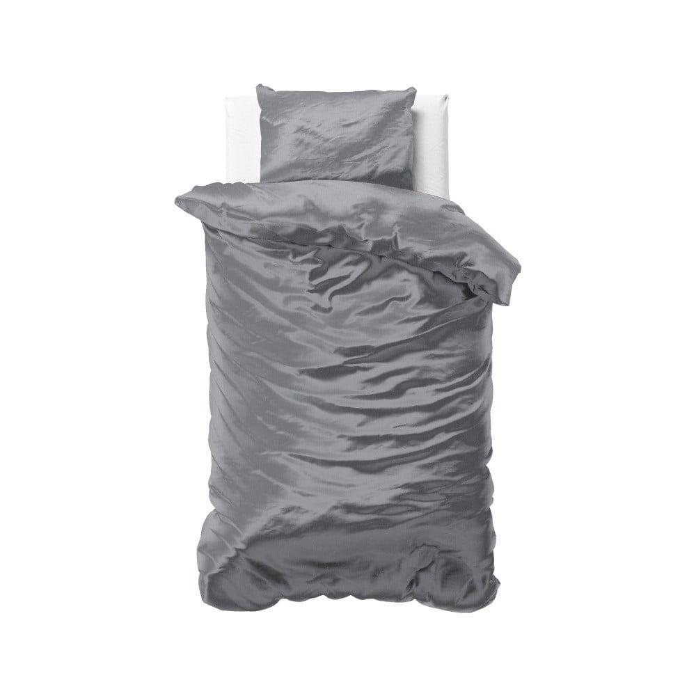Tmavosivé obliečky zo saténového mikroperkálu na jednolôžko Sleeptime, 140 x 220 cm