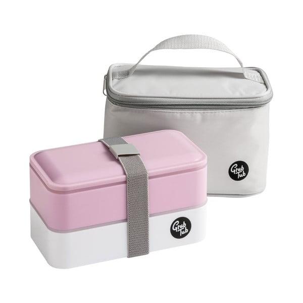 Set ružového desiatového boxu a tašky Premier Housewares, 21 x 13 cm