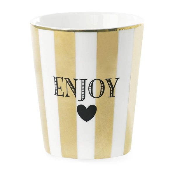 Keramický hrnček Miss Étoile Enjoy Stripe Gold