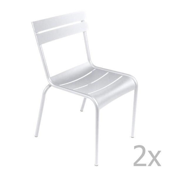 Sada 2 bielych stoličiek Fermob Luxembourg