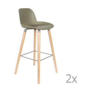 Sada 2 zelených barových stoličiek Zuiver Albert Kuip, výška sedu 75 cm