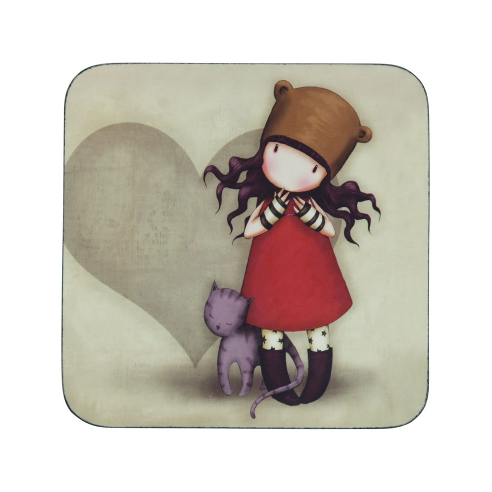 Podložka pod hrnček Gorjuss Purrrrrfect Love, 10 × 10 cm