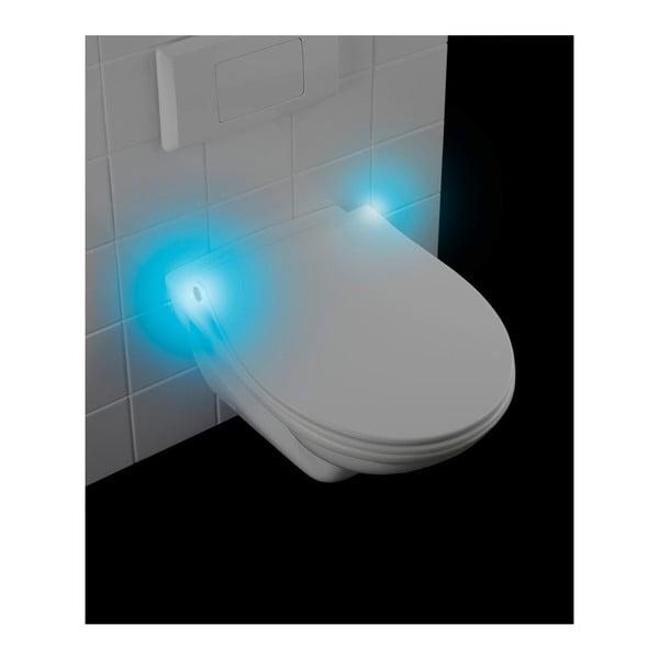 Biele WC sedadlo S LED svetlami a jednoduchým zatváraním Wenko Gubbio, 44 × 37 cm