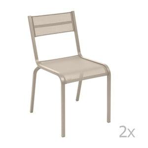 Sada 2 béžových kovových záhradných stoličiek Fermob Oléron