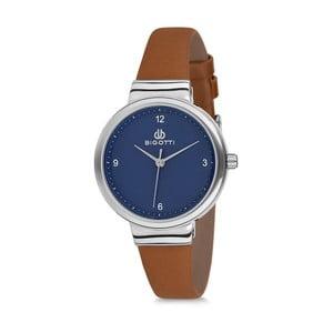 Dámske hodinky s hnedým koženým remienkom a modrým ciferníkom Bigotti Milano Sea
