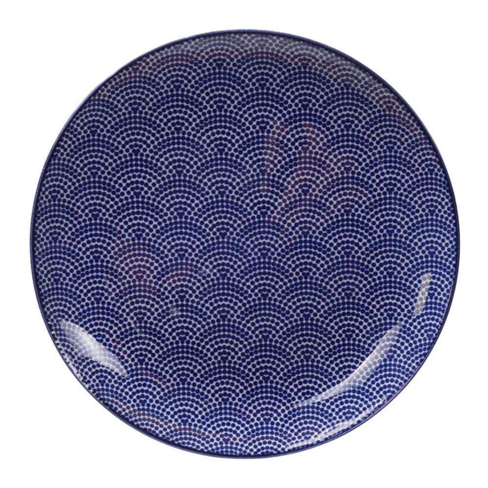 Modrý porcelánový tanier Tokyo Design Studio Dots, ø 25,7 cm