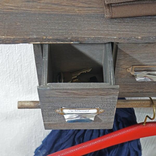 Hnedý nástenný stojan s háčikmi a zásuvkami Mendler Shabby