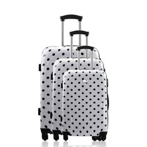 Sada 3 kufrov Integre White Black Dots, 114 l/75 l/46 l