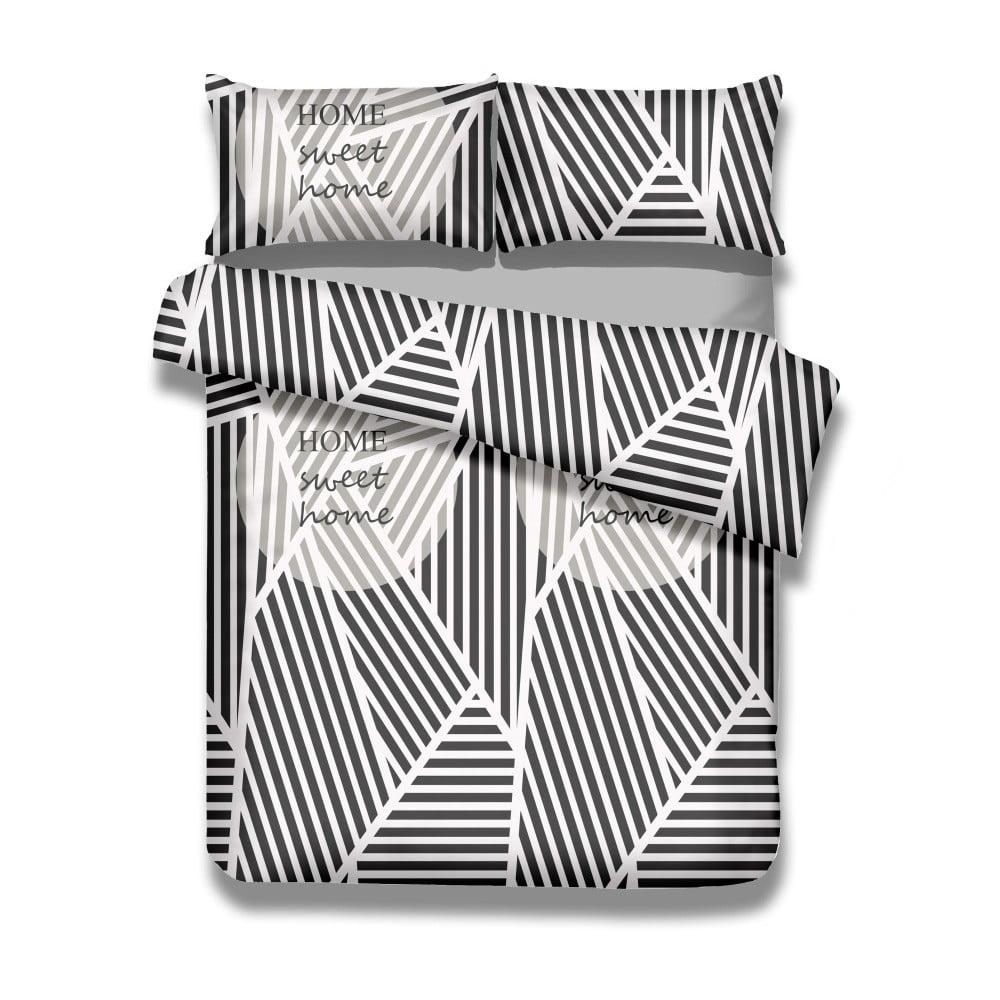 Sada bavlnenej obliečky na perinu a 2 obliečok na vankúše AmeliaHome Averi Sweet Home Light, 200 × 200 cm + 80 × 80 cm