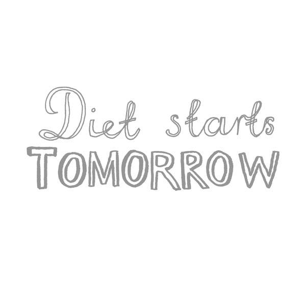Obliečka na vankúš Diet Starts Tomorrow, 50x70 cm